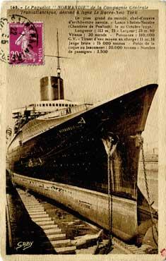 PAQUEBOT S.S NORMANDIE - Carte postale Sépia classique - Editeur : ARTAUD-GABY - NANTES - Réf. Site :GAB-ARTC 5-2-168-2 PSB