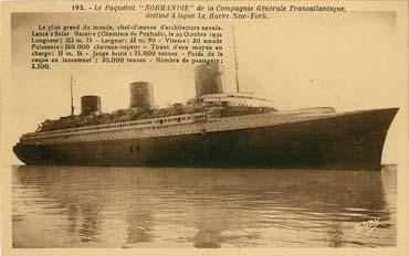 S.S NORMANDIE - Carte postale classique sépia - Editeur ARTAUD-GABY - Réf. 5-2-192