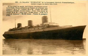 S/S NORMANDIE - Carte postale Petit format classique GAB-ARTC 5-2-189
