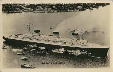 S.S NORMANDIE - CARTE POSTALE GLACEE U.S.A Editeur : THE GROGAN PHOTO SERVICE-TROY - Réf. SITE : GROGANE 1-1