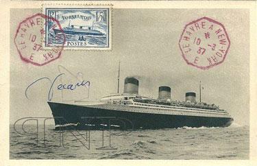 PAQUEBOT S.S NORMANDIE - Carte postale classique sépia Editeur HELIO-LORRAINE - Signée Albert DECARIS - Réf. HEL-LORC-1-2-2 PSB