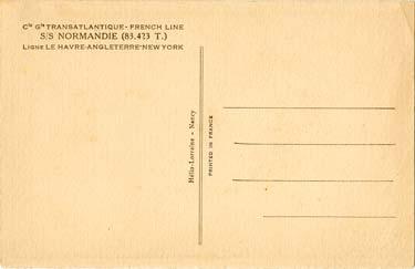 PAQUEBOT S.S NORMANDIE - Carte postale classique sépia Editeur HELIO-LORRAINE Réf. HEL-LORC-1-2-PSB