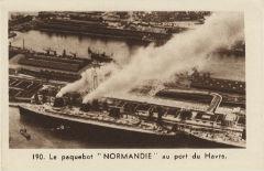 Paquebot Normandie - Carte de collection - Petit format France Héliogravure Lescuyer N190