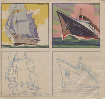 Paquebot Normandie - Supports publicitaires - Images à colorier