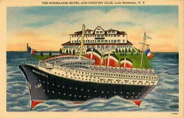 PAQUEBOT S.S NORMANDIE - Carte-postale U.S.A classique en couleurs - Editeur : Alfred S. LANDIS, WURTSBORO, N.Y - Réf. Site : LANDISP HOT-2-E-10114 PSB