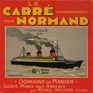 Paquebot Normandie - Etiquette bouteille de fromage ` Le Carré Normand