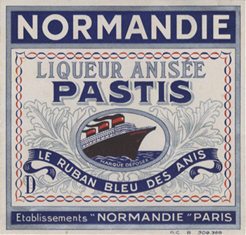 Paquebot Normandie - Etiquette bouteille dalcool : `Normandie` - Liqueur anisée Pastis