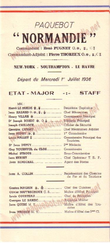 Paquebot s/s Normandie - LISTE PASSAGERS 01.07.36 / 2-1