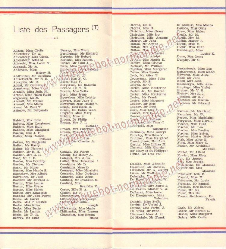 Paquebot s/s Normandie - LISTE PASSAGERS 01.07.36 / 2-2