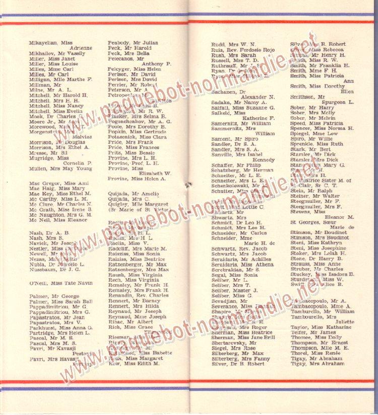 Paquebot s/s Normandie - LISTE PASSAGERS 01.07.36 / 2-4