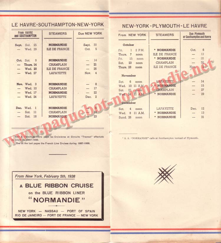 PAQUEBOT NORMANDIE - LISTE DES PASSAGERS DU 1er OCTOBRE 1937 - 1ère CLASSE / 1-2