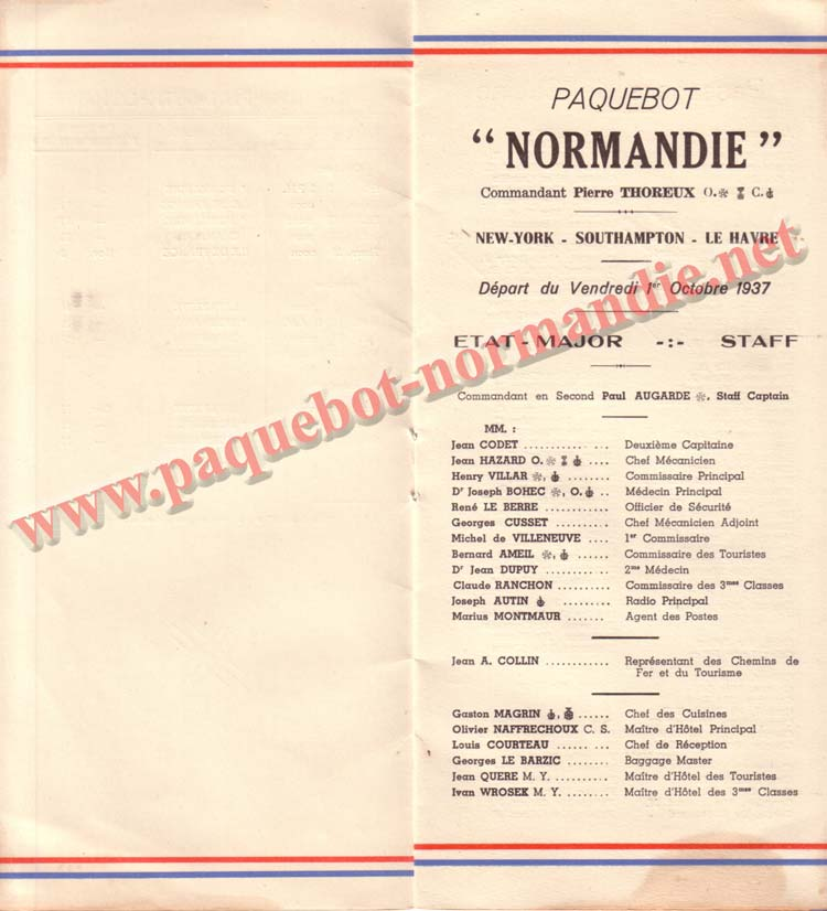PAQUEBOT NORMANDIE - LISTE DES PASSAGERS DU 1er OCTOBRE 1937 - 1ère CLASSE / 1-3