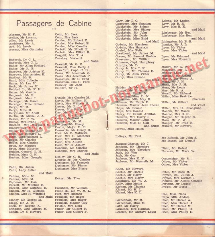 PAQUEBOT NORMANDIE - LISTE DES PASSAGERS DU 1er OCTOBRE 1937 - 1ère CLASSE / 1-4
