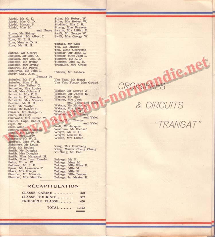 PAQUEBOT NORMANDIE - LISTE DES PASSAGERS DU 1er OCTOBRE 1937 - 1ère CLASSE / 1-5