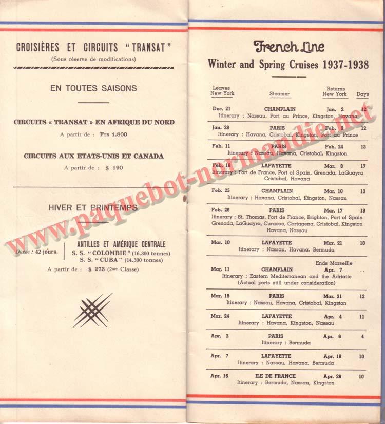 PAQUEBOT NORMANDIE - LISTE DES PASSAGERS DU 1er OCTOBRE 1937 - 1ère CLASSE / 1-6
