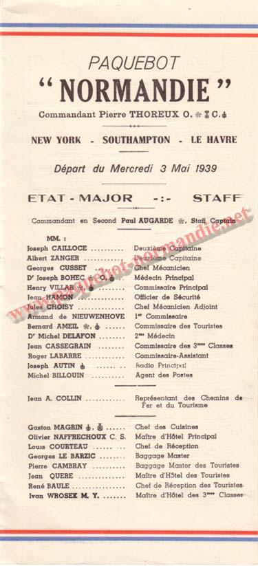 PAQUEBOT NORMANDIE - LISTE DES PASSAGERS DU 3 MAI 1939 - 2ème CLASSE / 2-1