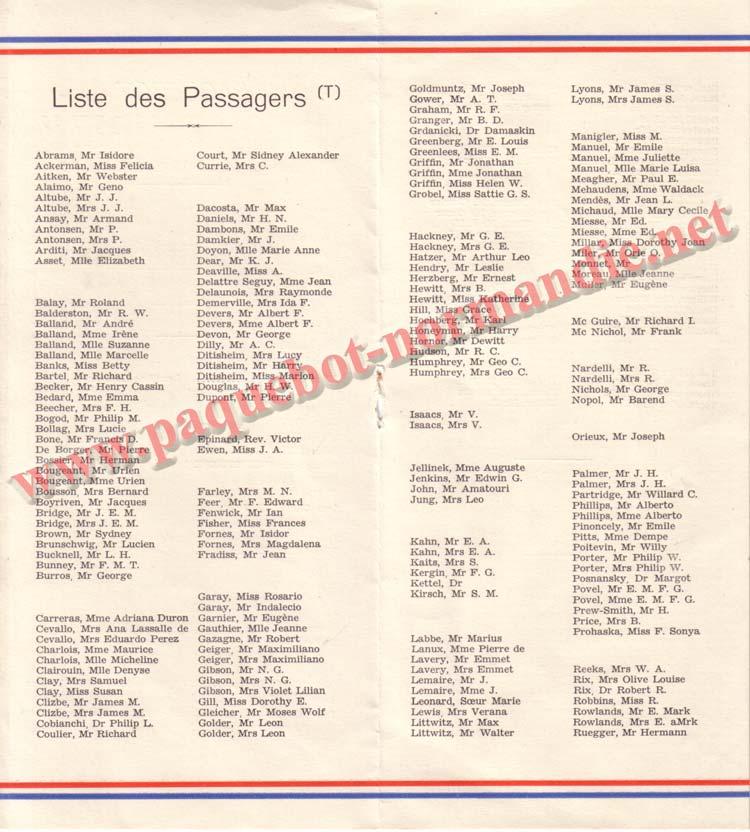 PAQUEBOT NORMANDIE - LISTE DES PASSAGERS DU 3 MAI 1939 - 2ème CLASSE / 2-2
