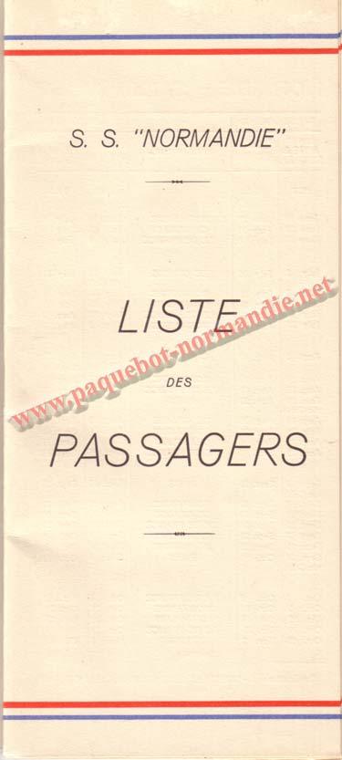 PAQUEBOT NORMANDIE - LISTE DES PASSAGERS DU 3 AOUT 1938 - 1ère CLASSE / 1-1