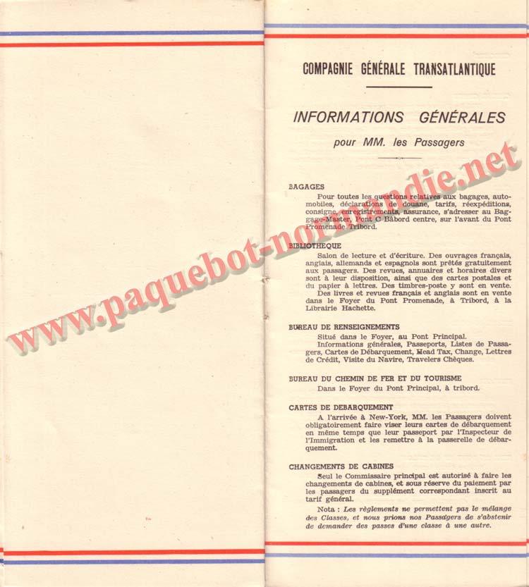 PAQUEBOT NORMANDIE - LISTE DES PASSAGERS DU 3 AOUT 1938 - 1ère CLASSE / 1-10