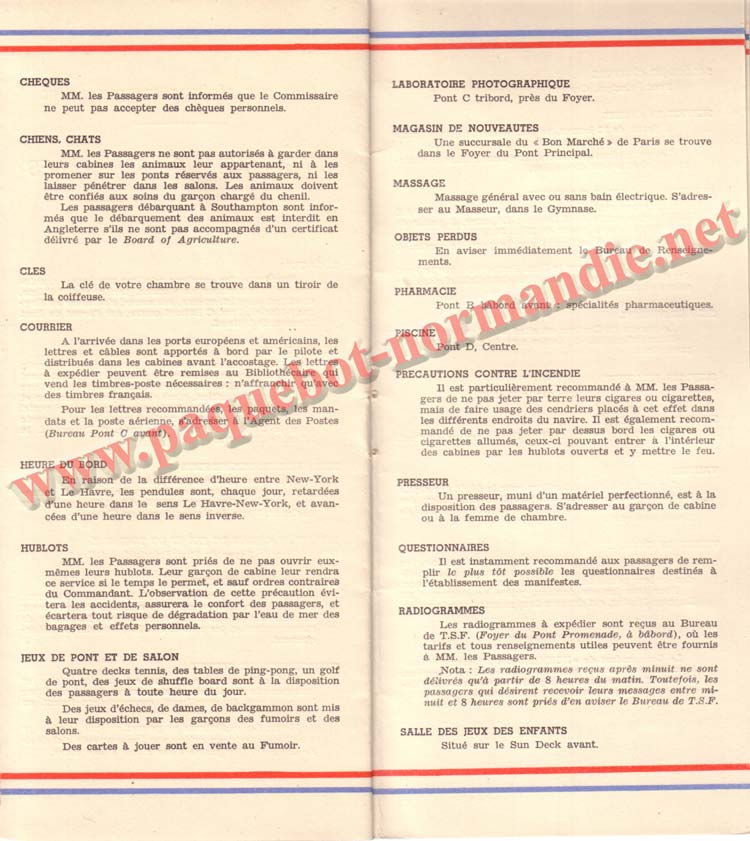 PAQUEBOT NORMANDIE - LISTE DES PASSAGERS DU 3 AOUT 1938 - 1ère CLASSE / 1-11