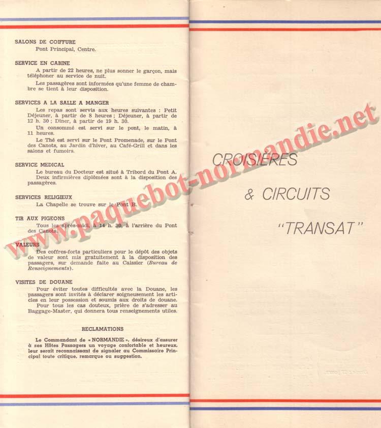 PAQUEBOT NORMANDIE - LISTE DES PASSAGERS DU 3 AOUT 1938 - 1ère CLASSE / 1-12