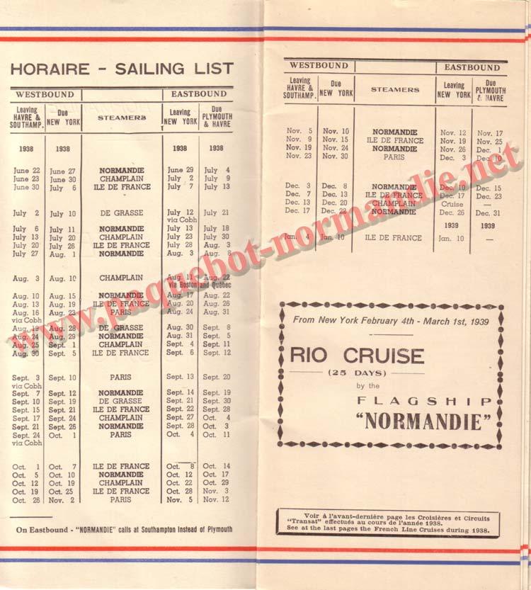 PAQUEBOT NORMANDIE - LISTE DES PASSAGERS DU 3 AOUT 1938 - 1ère CLASSE / 1-2