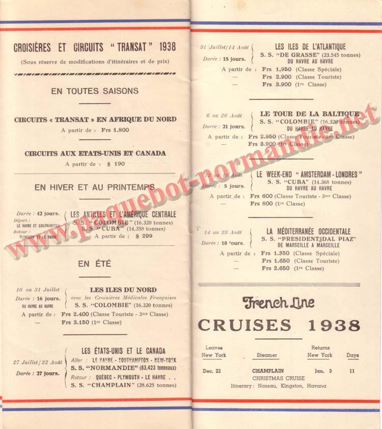 PAQUEBOT NORMANDIE - LISTE DES PASSAGERS DU 3 AOUT 1938 - 1ère CLASSE / 1-3