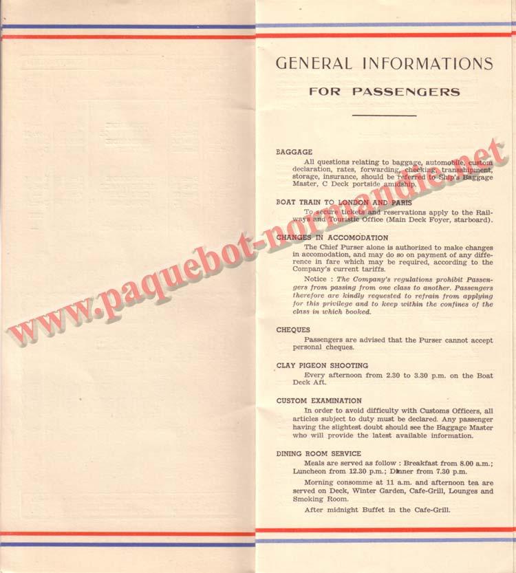 PAQUEBOT NORMANDIE - LISTE DES PASSAGERS DU 3 AOUT 1938 - 1ère CLASSE / 1-4