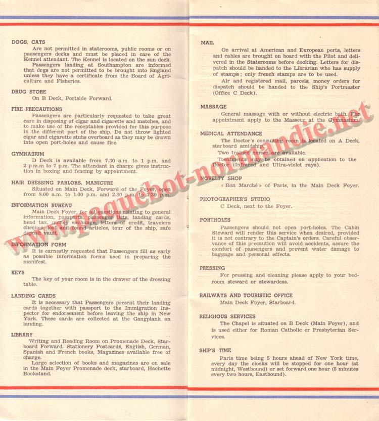 PAQUEBOT NORMANDIE - LISTE DES PASSAGERS DU 3 AOUT 1938 - 1ère CLASSE / 1-5