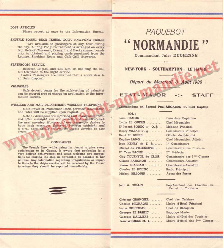 PAQUEBOT NORMANDIE - LISTE DES PASSAGERS DU 3 AOUT 1938 - 1ère CLASSE / 1-6