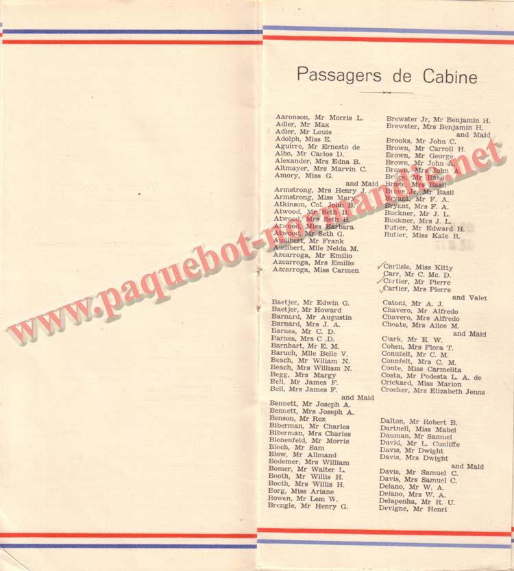 PAQUEBOT NORMANDIE - LISTE DES PASSAGERS DU 3 AOUT 1938 - 1ère CLASSE / 1-7