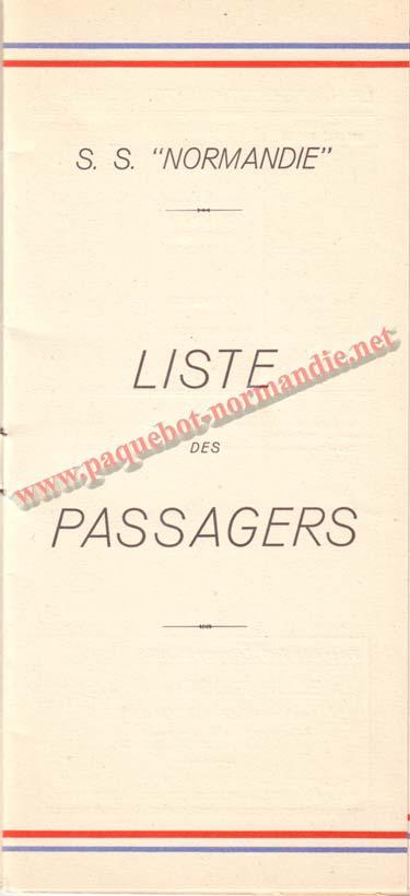 PAQUEBOT NORMANDIE - LISTE DES PASSAGERS DU 3 NOVEMBRE 1937 - 1ère CLASSE / 1-1