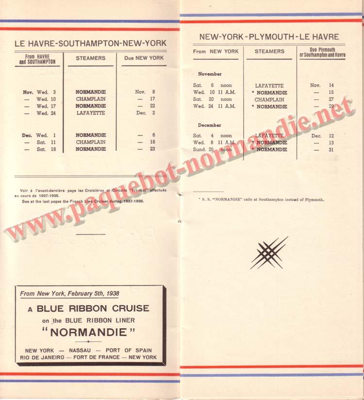 PAQUEBOT NORMANDIE - LISTE DES PASSAGERS DU 3 NOVEMBRE 1937 - 1ère CLASSE / 1-2