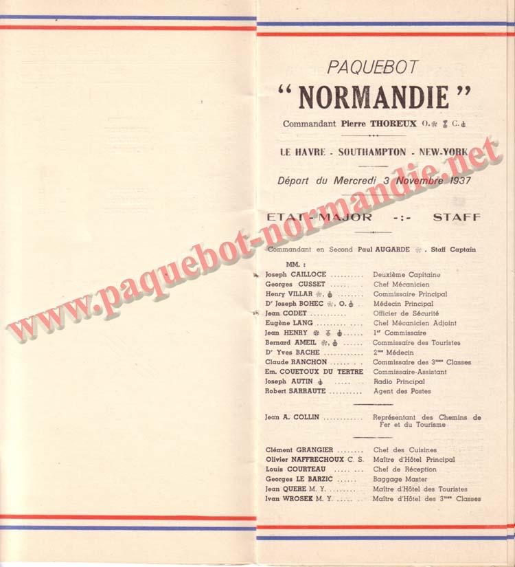 PAQUEBOT NORMANDIE - LISTE DES PASSAGERS DU 3 NOVEMBRE 1937 - 1ère CLASSE / 1-3