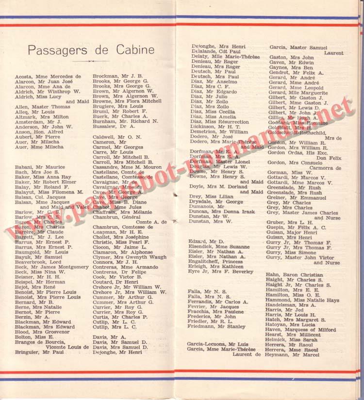 PAQUEBOT NORMANDIE - LISTE DES PASSAGERS DU 3 NOVEMBRE 1937 - 1ère CLASSE / 1-4