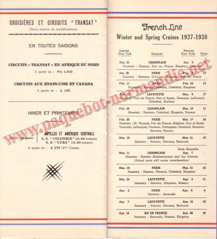 PAQUEBOT NORMANDIE - LISTE DES PASSAGERS DU 3 NOVEMBRE 1937 - 1ère CLASSE / 1-8