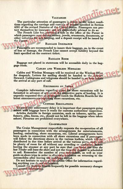 PAQUEBOT NORMANDIE - LISTE DES PASSAGERS DU 4 FEVRIER 1939 POUR LA 2ème CROISIERE DE RIO / 10