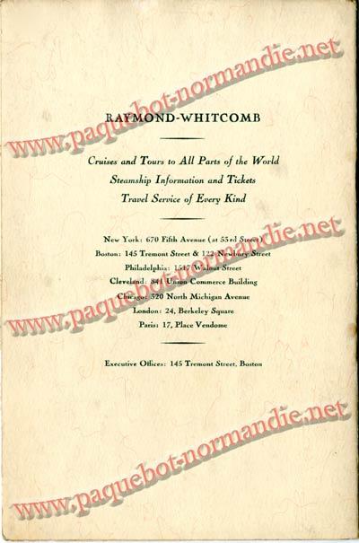 PAQUEBOT NORMANDIE - LISTE DES PASSAGERS DU 4 FEVRIER 1939 POUR LA 2ème CROISIERE DE RIO / 11