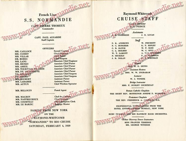 PAQUEBOT NORMANDIE - LISTE DES PASSAGERS DU 4 FEVRIER 1939 POUR LA 2ème CROISIERE DE RIO / 3