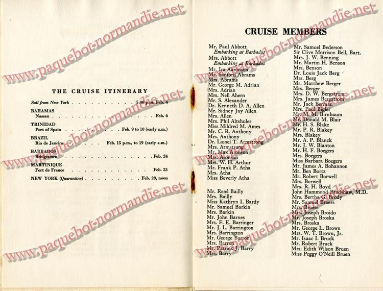 PAQUEBOT NORMANDIE - LISTE DES PASSAGERS DU 4 FEVRIER 1939 POUR LA 2ème CROISIERE DE RIO / 4