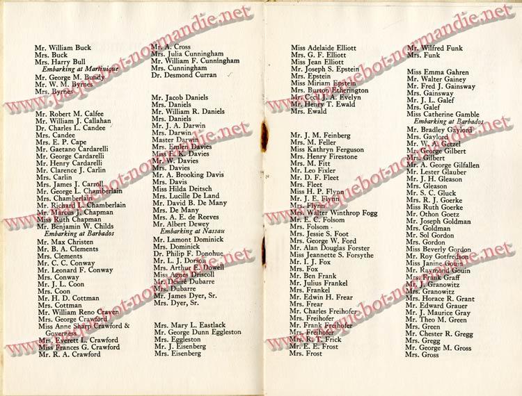 PAQUEBOT NORMANDIE - LISTE DES PASSAGERS DU 4 FEVRIER 1939 POUR LA 2ème CROISIERE DE RIO / 5