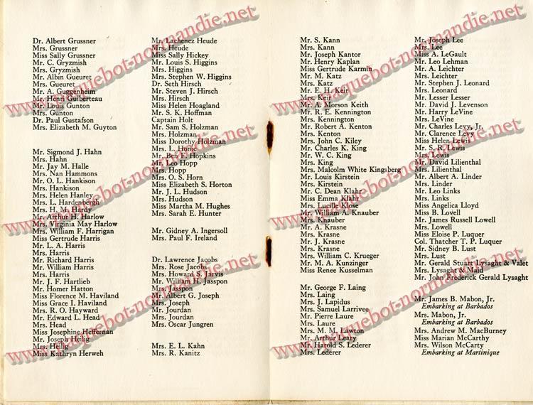 PAQUEBOT NORMANDIE - LISTE DES PASSAGERS DU 4 FEVRIER 1939 POUR LA 2ème CROISIERE DE RIO / 6