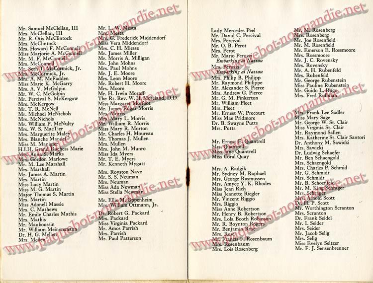 PAQUEBOT NORMANDIE - LISTE DES PASSAGERS DU 4 FEVRIER 1939 POUR LA 2ème CROISIERE DE RIO / 7