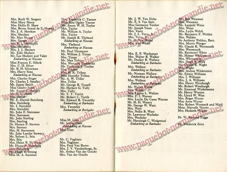 PAQUEBOT NORMANDIE - LISTE DES PASSAGERS DU 4 FEVRIER 1939 POUR LA 2ème CROISIERE DE RIO / 8