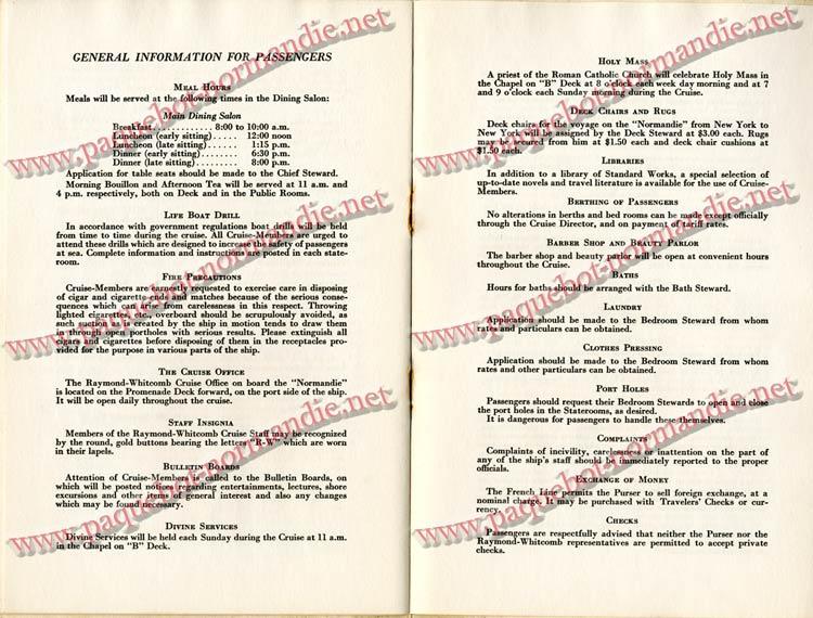 PAQUEBOT NORMANDIE - LISTE DES PASSAGERS DU 4 FEVRIER 1939 POUR LA 2ème CROISIERE DE RIO / 9