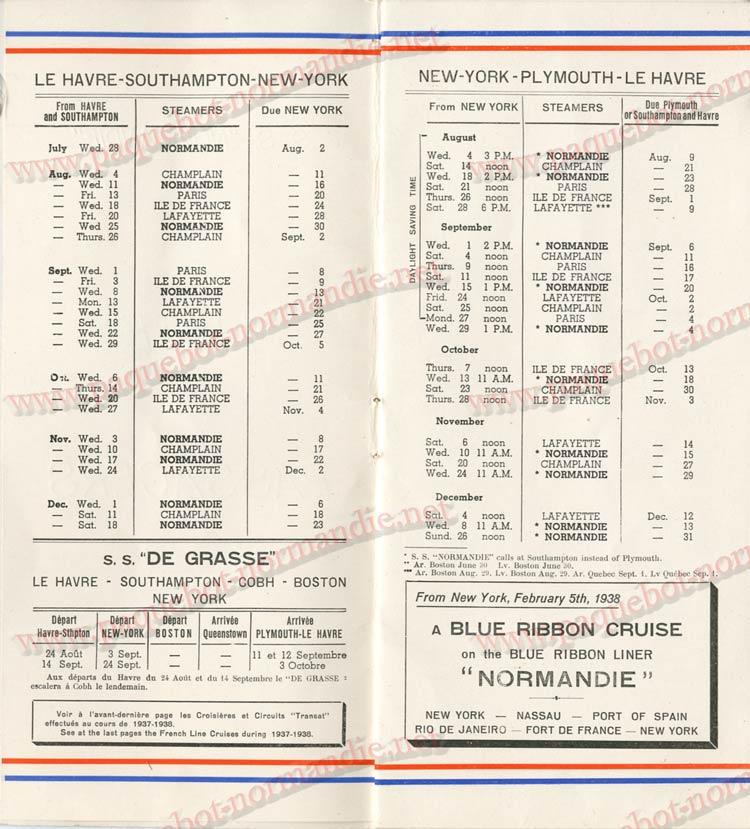 PAQUEBOT NORMANDIE - LISTE DES PASSAGERS DU 04 AOUT 1937 - 1ère CLASSE / 1-2