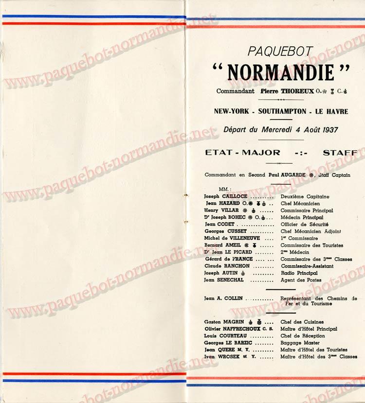 PAQUEBOT NORMANDIE - LISTE DES PASSAGERS DU 04 AOUT 1937 - 1ère CLASSE / 1-3