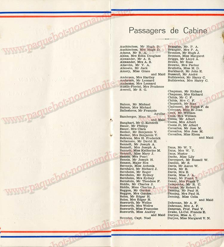 PAQUEBOT NORMANDIE - LISTE DES PASSAGERS DU 04 AOUT 1937 - 1ère CLASSE / 1-4