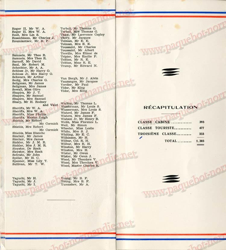 PAQUEBOT NORMANDIE - LISTE DES PASSAGERS DU 04 AOUT 1937 - 1ère CLASSE / 1-6