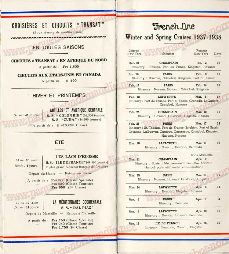 PAQUEBOT NORMANDIE - LISTE DES PASSAGERS DU 04 AOUT 1937 - 1ère CLASSE / 1-8